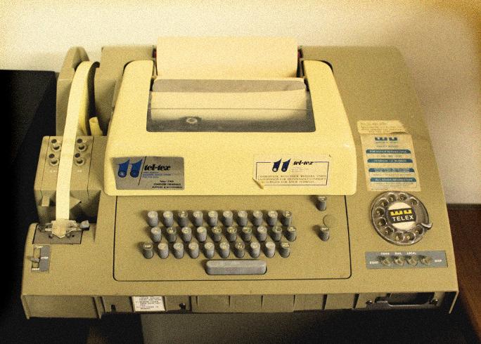 A typical telex machine in the 1970s